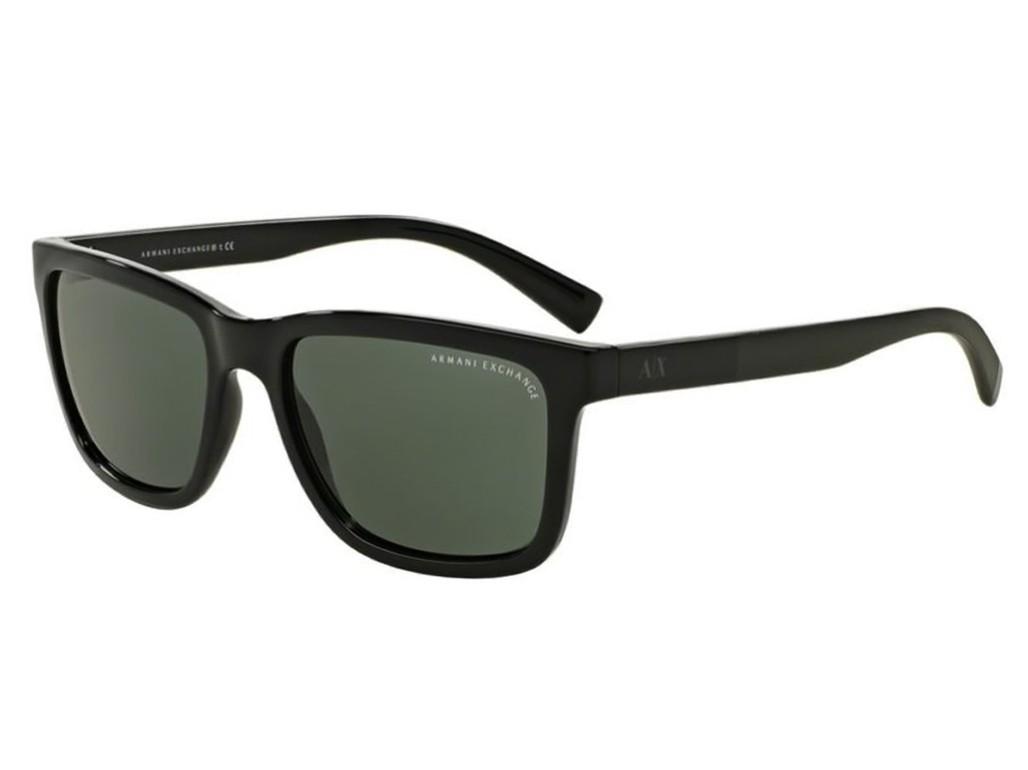 d8811a130126d Óculos de Sol Armani Exchange Quadrado Armação Acetato Preto Lente Verde  Comum Sem Plaquetas 0ax4045sl 81787156