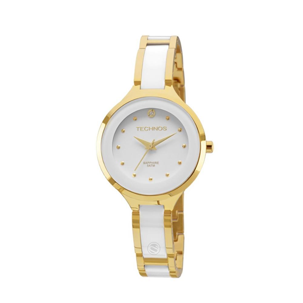 Relógio Technos Elegance Caixa Redonda Analógico Metal Dourada Pulseira  Metal Branca e Dourada 2035lyw 4b ... e224df0a10
