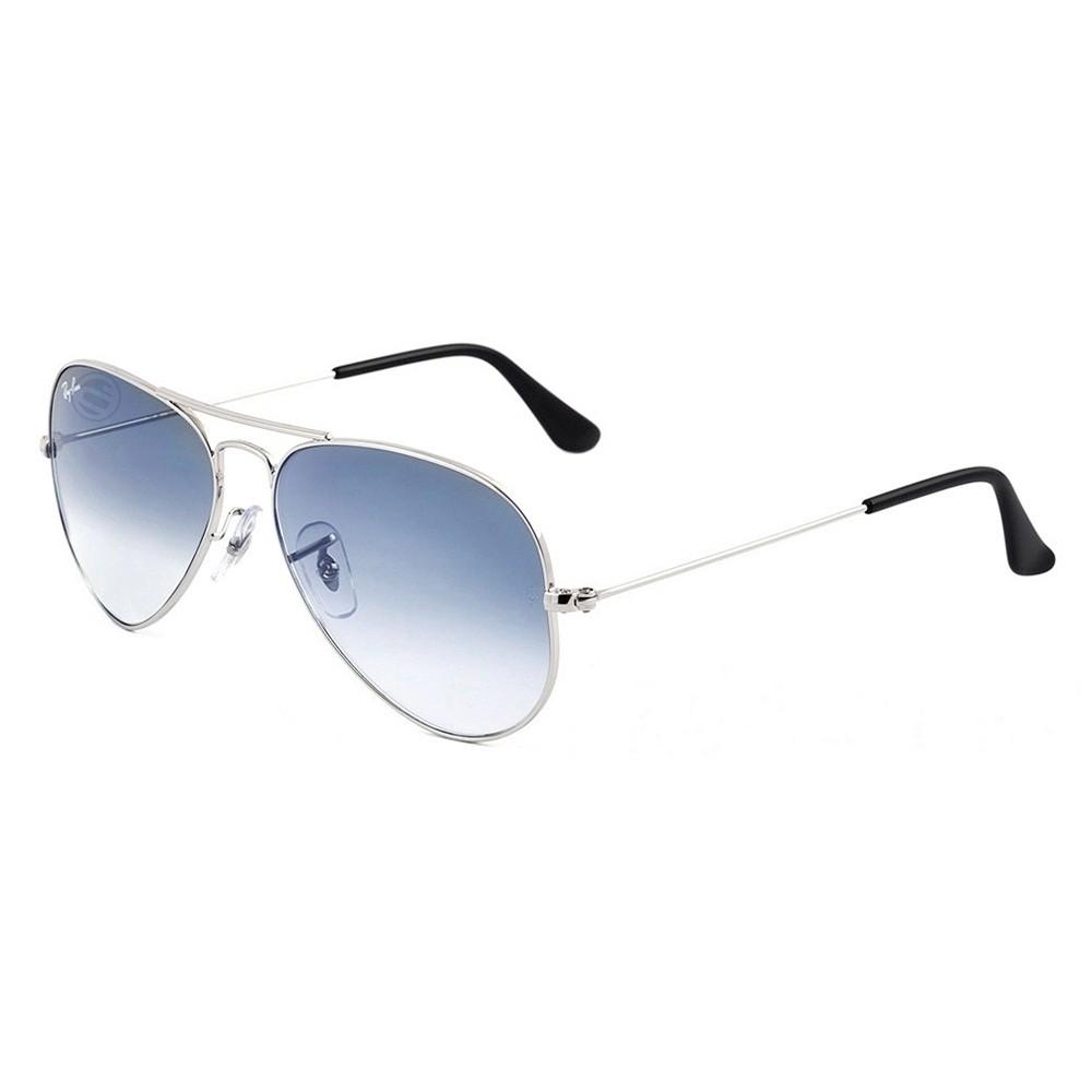 Óculos de Sol Ray-Ban Aviador Armação Metal Prata Lente Azul Degradê Com  Plaquetas 0rb3025l ... 7b55917d58