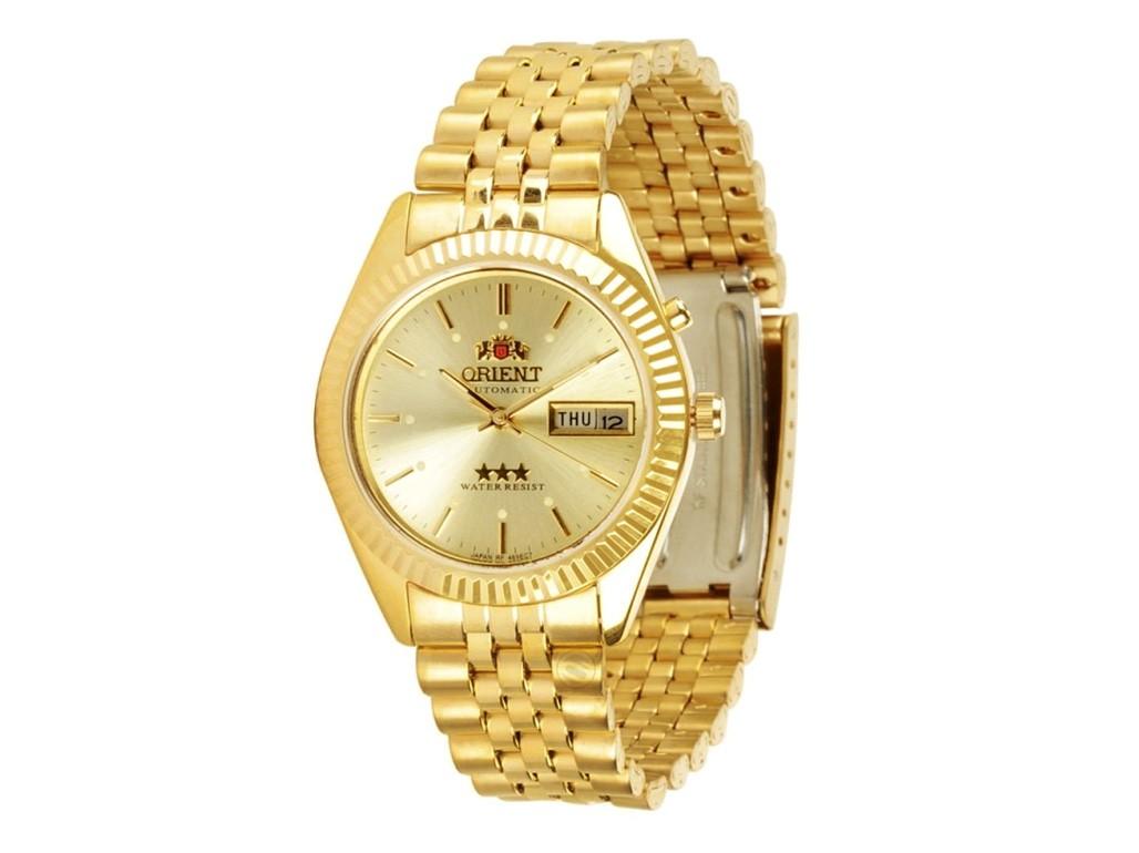 a5ada6c53c057 Relógio Orient Automatic Dourado e Branco Masculino Authentika Joias