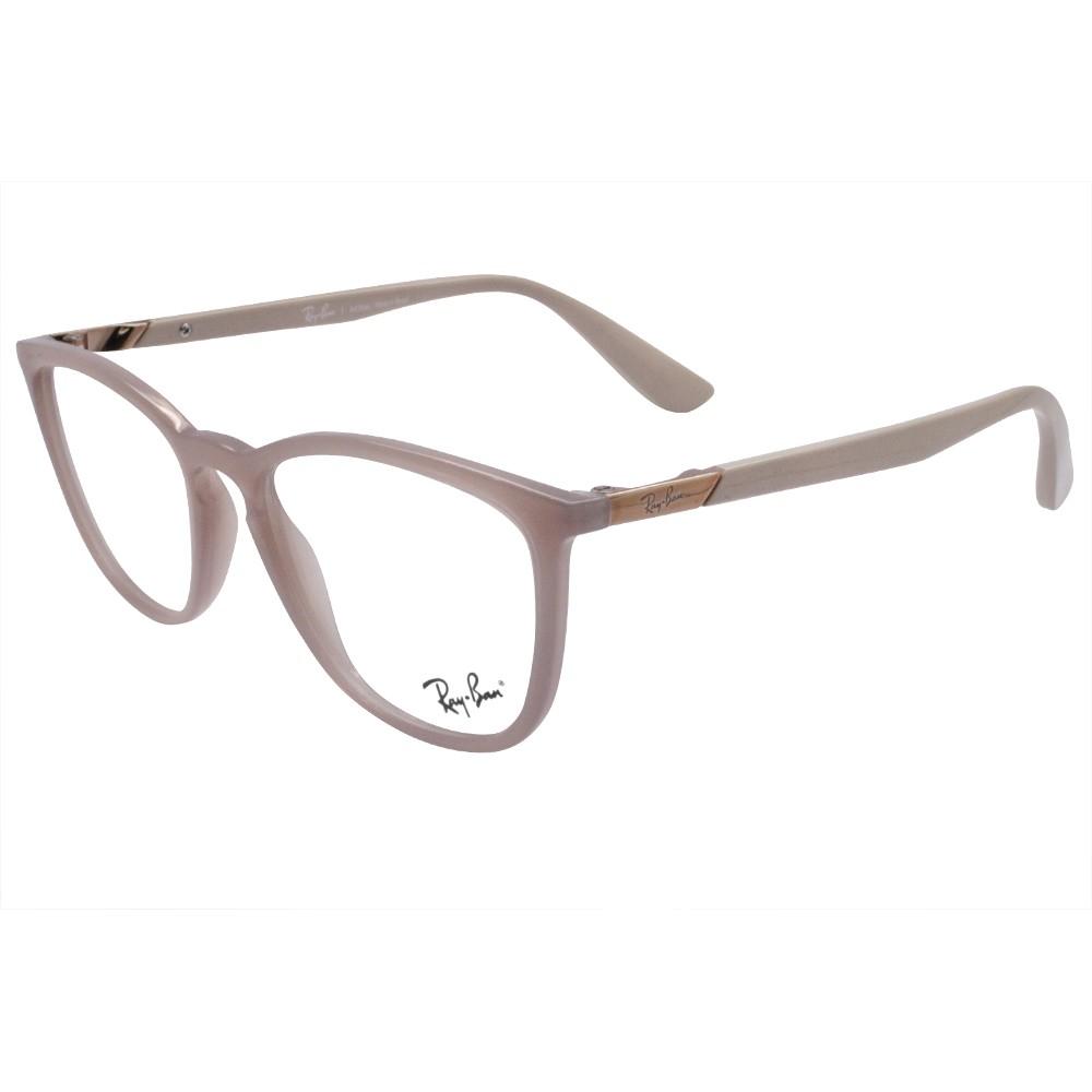 619fbe885d65c Óculos de Grau Ray-Ban Gatinho Acetato Bege Aro Fechado Sem Plaquetas  0rx7136l 574352 ...