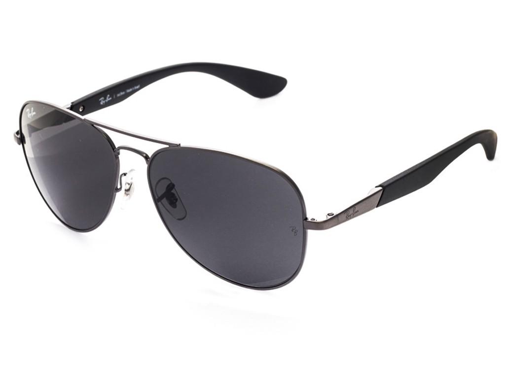 f9e4950db Óculos de Sol Ray-Ban Aviador Armação Metal Cinza Lente Cinza Comum Com  Plaquetas 0rb3554l ...