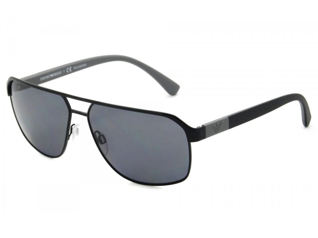74f15867a7bdf Óculos de Sol Emporio Armani Retangular Armação Metal Preta Lente Preta  Comum Com Plaquetas 0ea203930148162