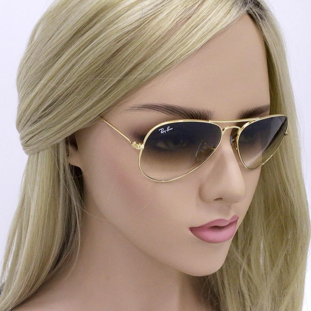 6da501c0661d7 ... Óculos de Sol Ray-Ban Aviador Armação Metal Dourado Lente Marrom Degradê  Com Plaquetas 0rb3025l ...
