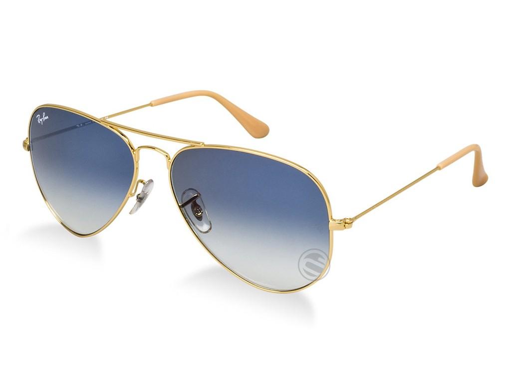 Óculos de Sol Ray-Ban Aviador Armação Metal Dourada Lente Azul Degradê Com  Plaquetas 0rb3025l001 f0dce9fc8f