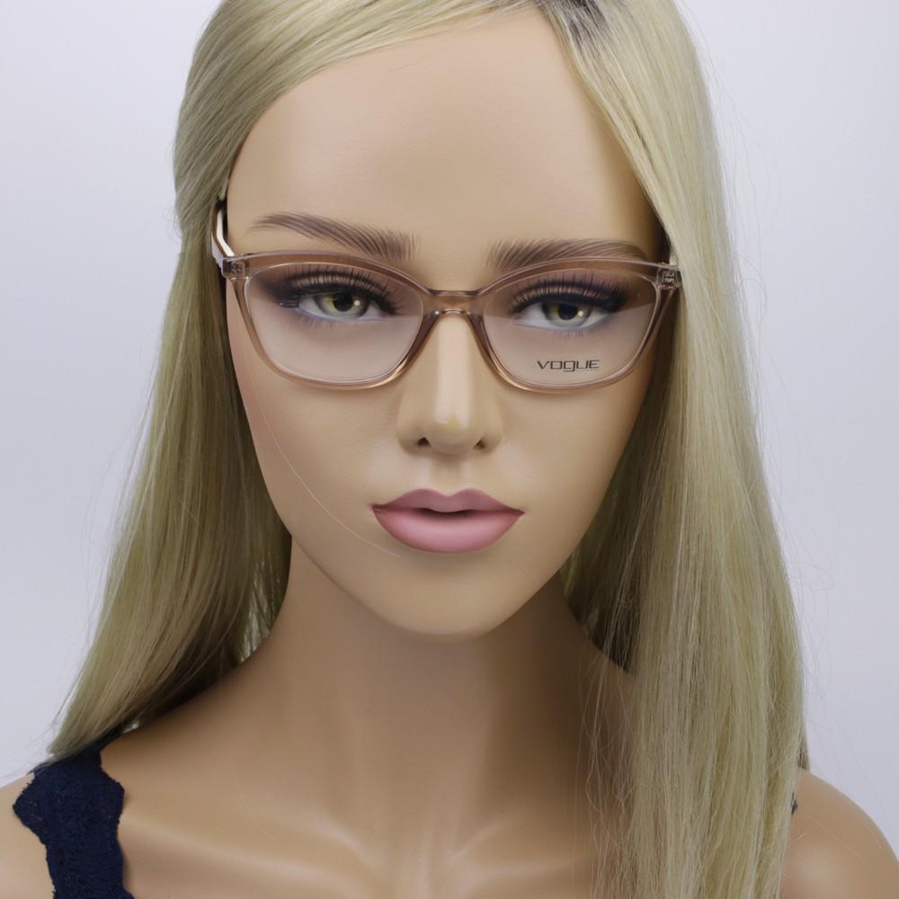 196cc96a1e4fe ... Óculos de Grau Vogue Gatinho Acetato Marrom Aro Fechado Sem Plaquetas  0vo5128l 2502 53 ...