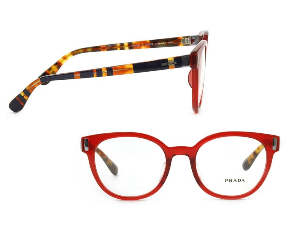 ... Óculos de Grau Prada Gatinho Acetato Vermelha Aro Fechado Sem Plaquetas  0pr06tvacb1o152 073183d4d3