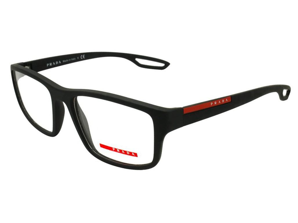 Óculos de Grau Prada Quadrado Acetato Preta Aro Fechado Sem Plaquetas  0ps09gvdg01o155 f307f29d6d