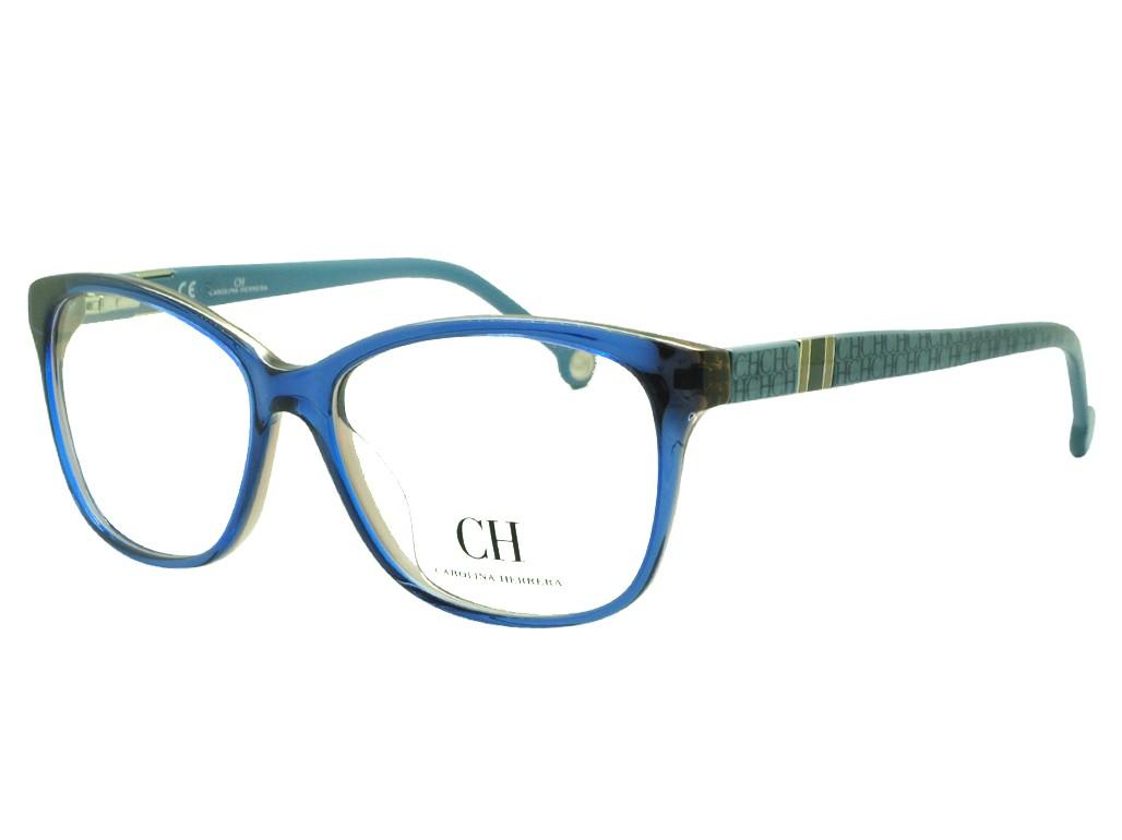 13dccf14a7c6a Óculos de Grau Carolina Herrera Gatinho Acetato Azul Aro Fechado Sem  Plaquetas vhe631540d25