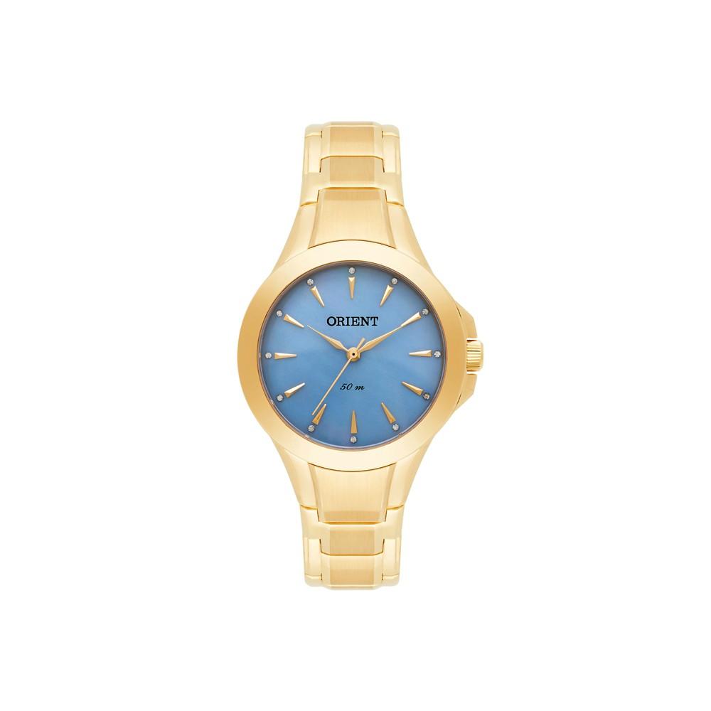 2cecd6359b6 Relógio Orient Dourado e Azul Claro Feminino Authentika Joias