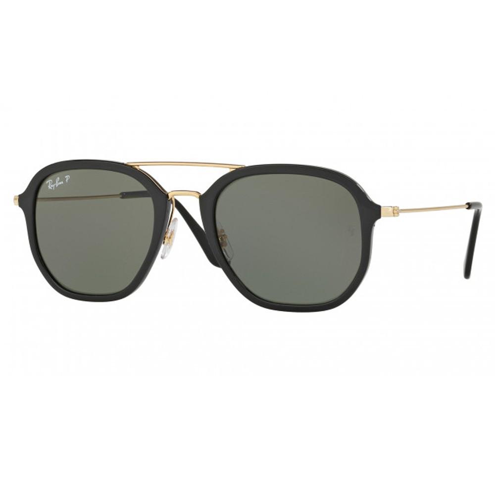 3587cf9117c16 Óculos de Sol Ray-Ban Redondo Armação Acetato Preto Lente Preta Polarizada  Com Plaquetas 0rb4273 ...