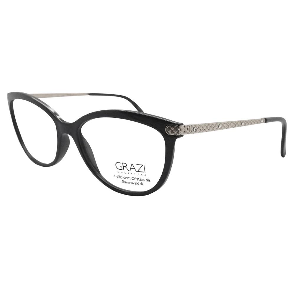 418fa8eb11c14 Óculos de Grau Grazi Massafera Gatinho Acetato Preta Aro Fechado Sem  Plaquetas 0gz3027b e40154 ...