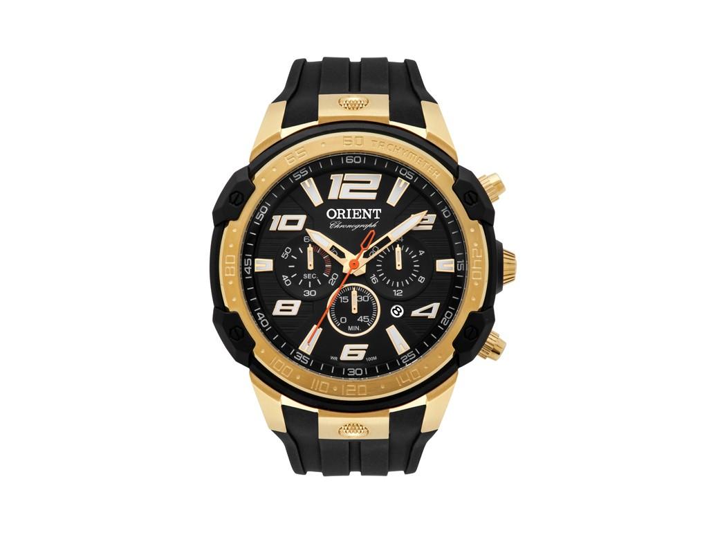 c5cf73ac420 Relógio Orient Cronograph Preto e Dourado Masculino Authentika Joias