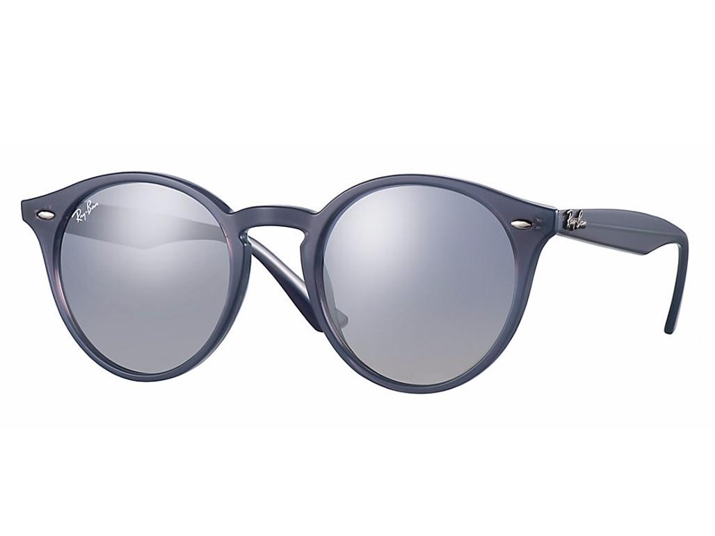 6dd2f78cd3e4b Óculos de Sol Ray-Ban Redondo Armação Acetato Azul Lente Azul Espelhada Sem  Plaquetas 0rb218062327b51 ...