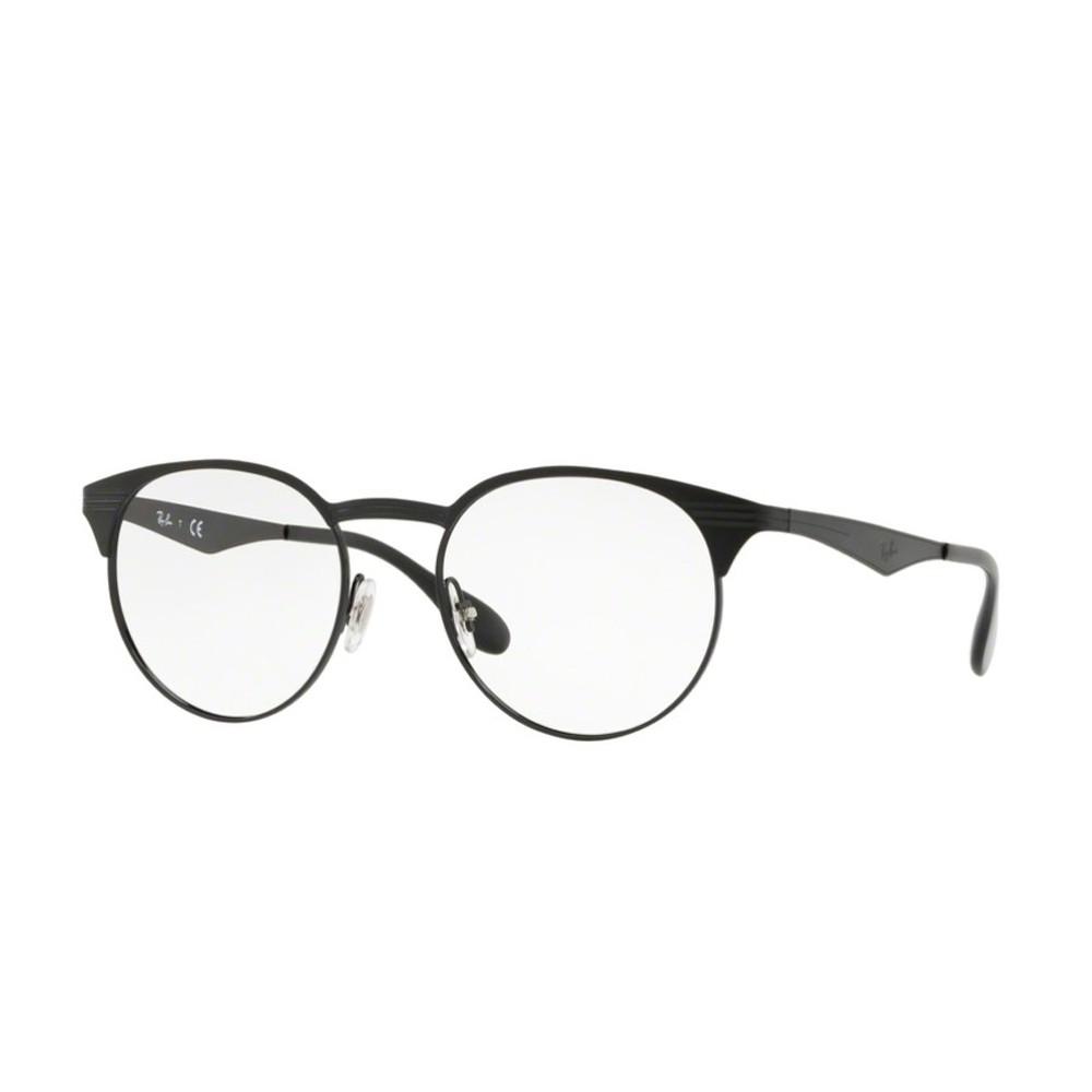 356aa54fb13f3 Óculos de Grau Ray-Ban Redondo Metal Preta Aro Fechado Com Plaquetas  0rx6406 2904 51 ...