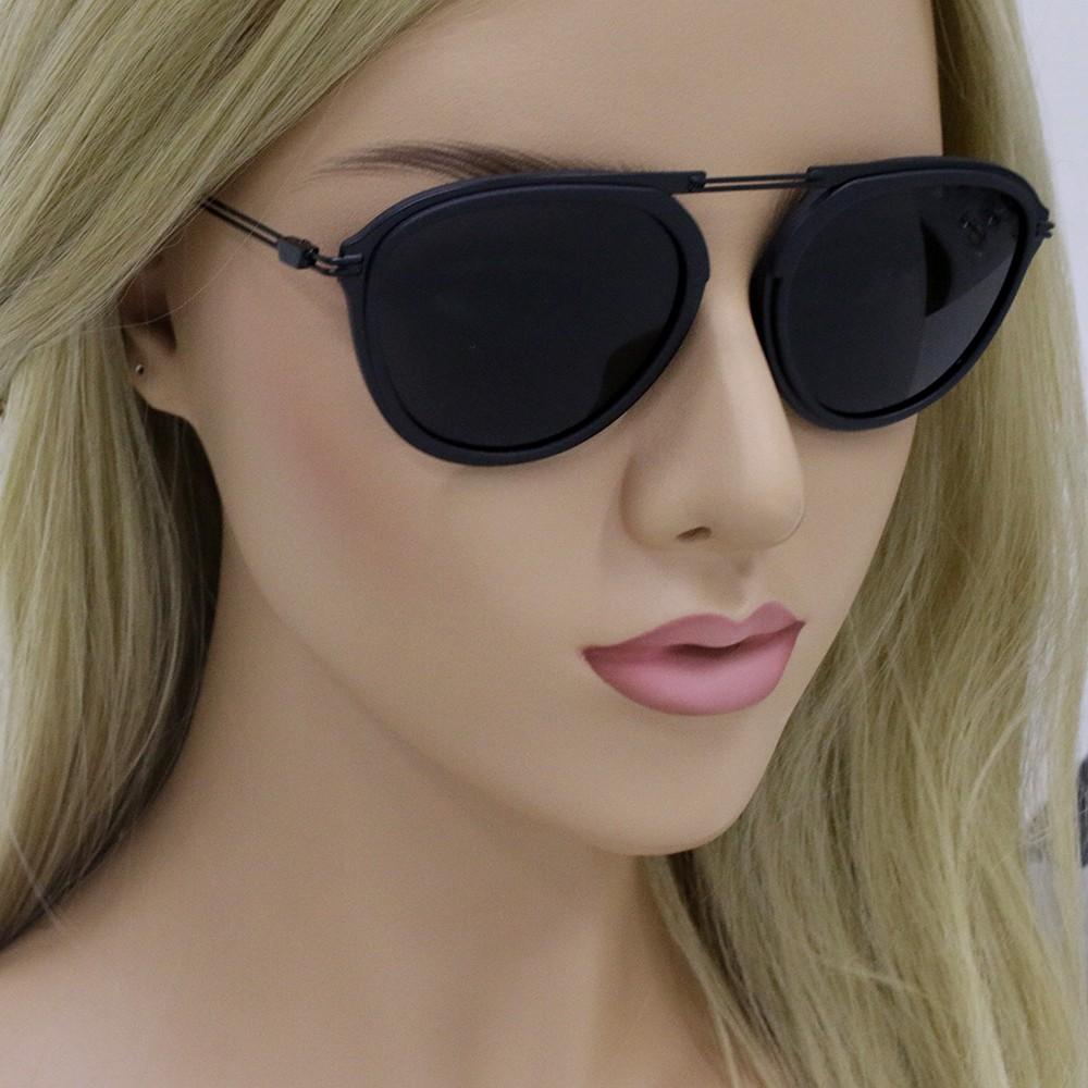 64c45469fc3ef ... Óculos de Sol Emporio Armani Redondo Armação Plástico Preto Lente Preta  Comum Sem Plaquetas ea2056 30018754 ...