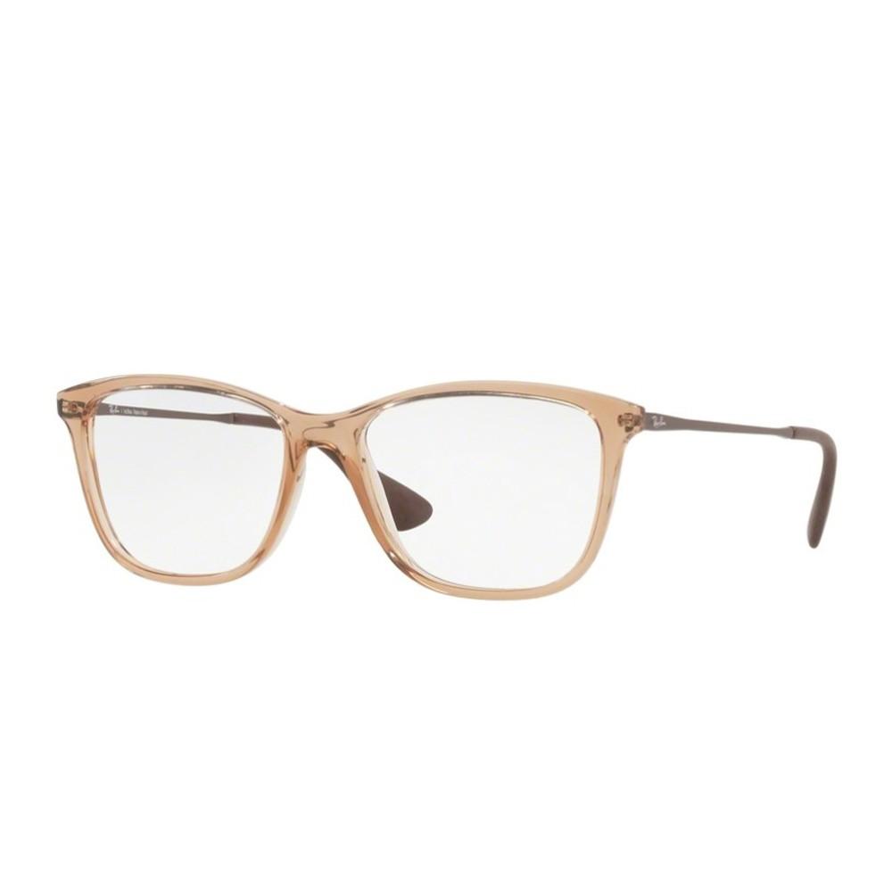 Óculos de Grau Ray-Ban Quadrado Acetato Marrom Aro Fechado Sem Plaquetas  0rx7135l 5700 54 ... faee5d2870