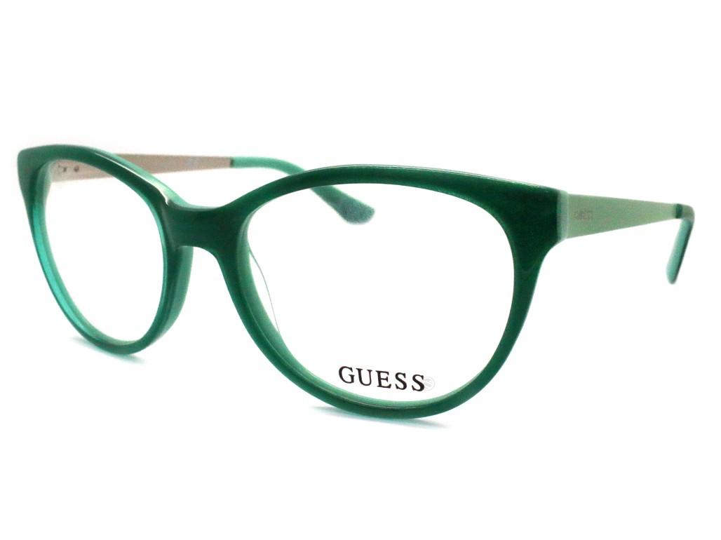 78a473a685604 Óculos de Grau Guess Gatinho Acetato Verde Aro Fechado Sem Plaquetas  gu2539 52093