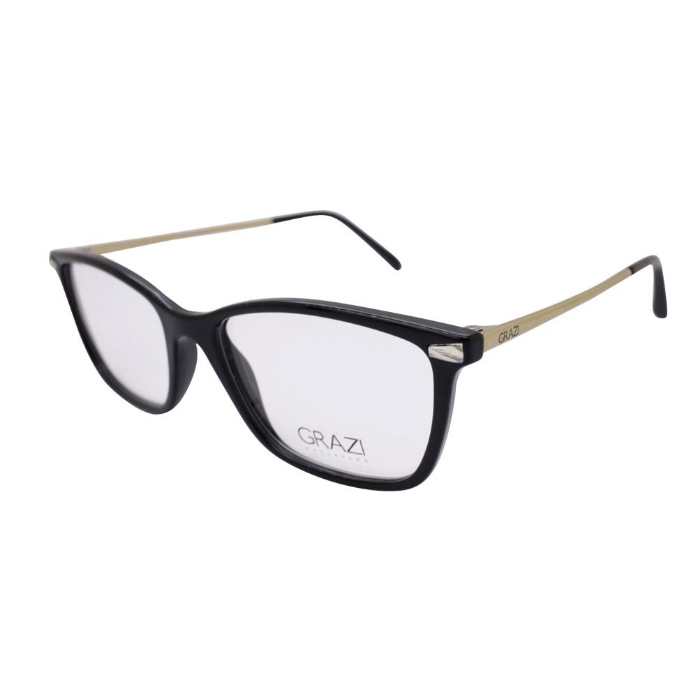 f008a4cad0ffc Óculos de Grau Grazi Massafera Retangular Acetato Preta Aro Fechado Sem  Plaquetas 0gz3049b f708 52 ...
