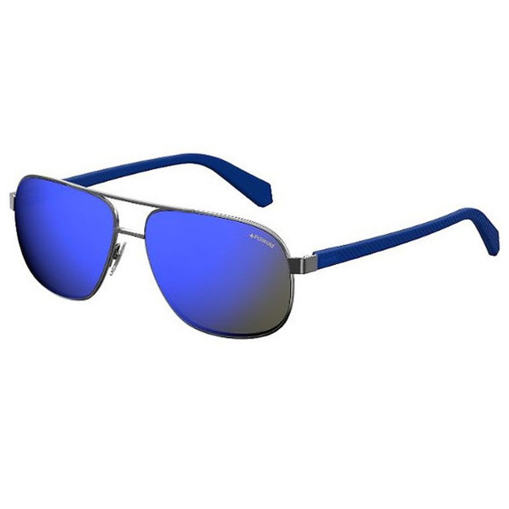 88372f3fe13aa Óculos de Sol Polaroid Redondo Armação Metal Prata Lente Azul Espelhada Com  Plaquetas pld2059 s ...