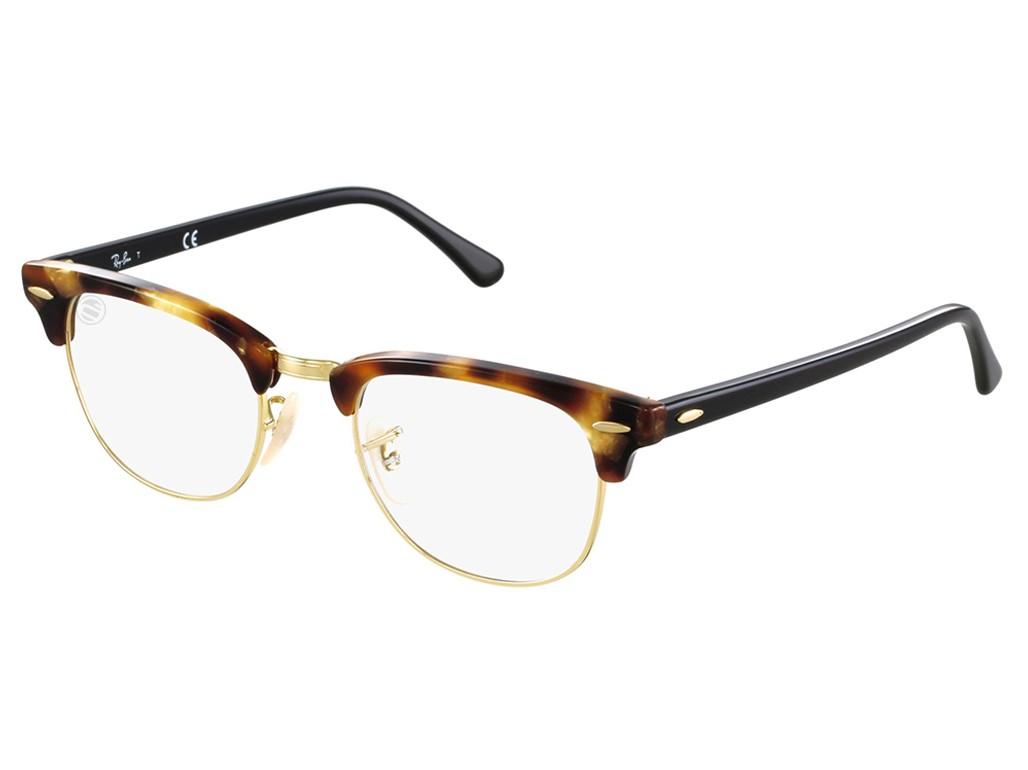 b21c495e35330 Óculos de Grau Ray-Ban Clubmaster Acetato Tartaruga Aro Aberto Com  Plaquetas 0rx5154549451
