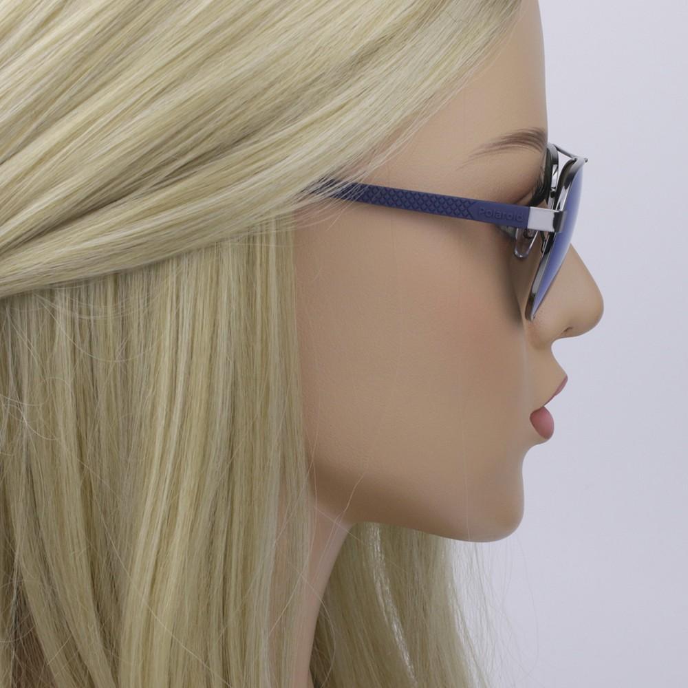 34eb4e952de86 ... Óculos de Sol Polaroid Redondo Armação Metal Prata Lente Azul Espelhada  Com Plaquetas pld2059 s ...