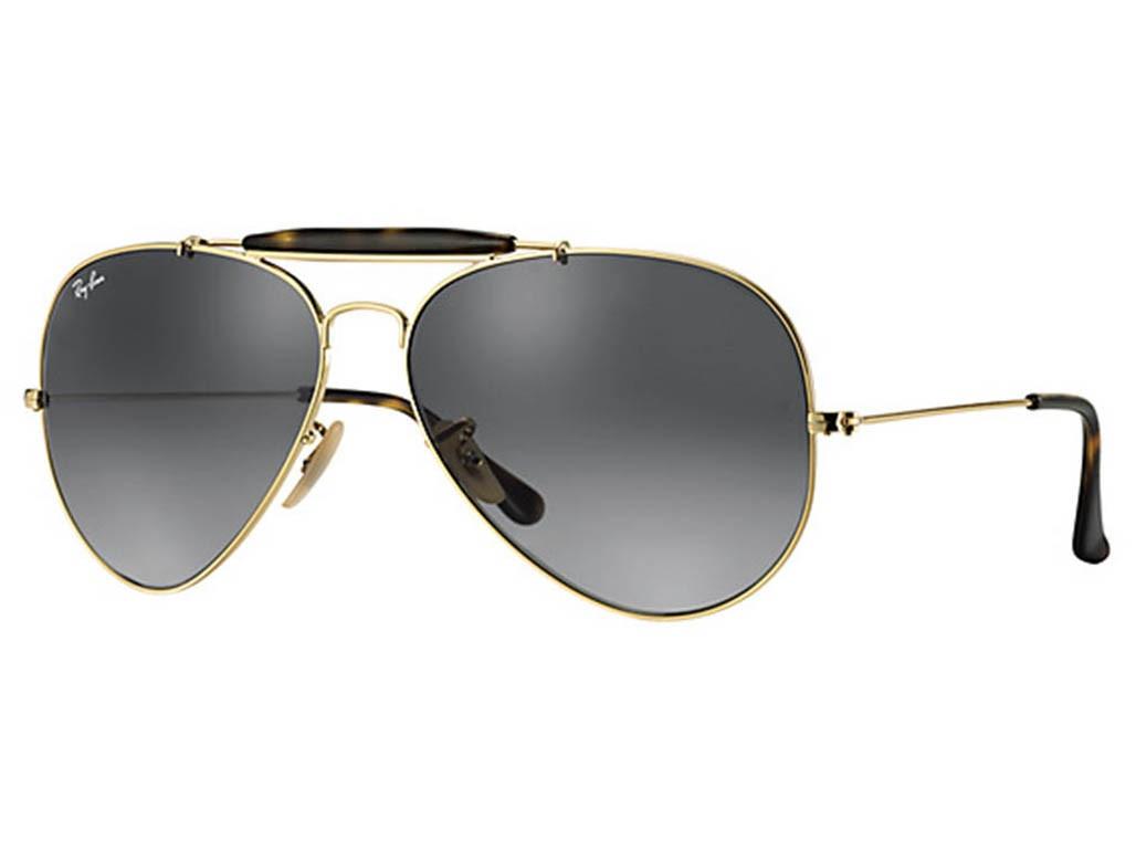 eca90ec9d9e97 Óculos de Sol Ray-Ban Caçador Armação Metal Dourada Lente Preta Comum Com  Plaquetas 0rb3029181 ...