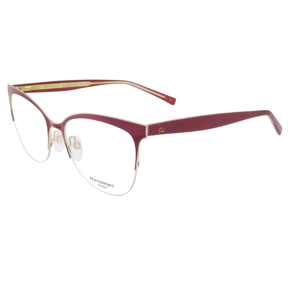 ebfdd20c3ca97 Óculos de Grau Ana Hickmann Gatinho Metal Vermelha Aro Aberto Com Plaquetas  AH1347 07A ...
