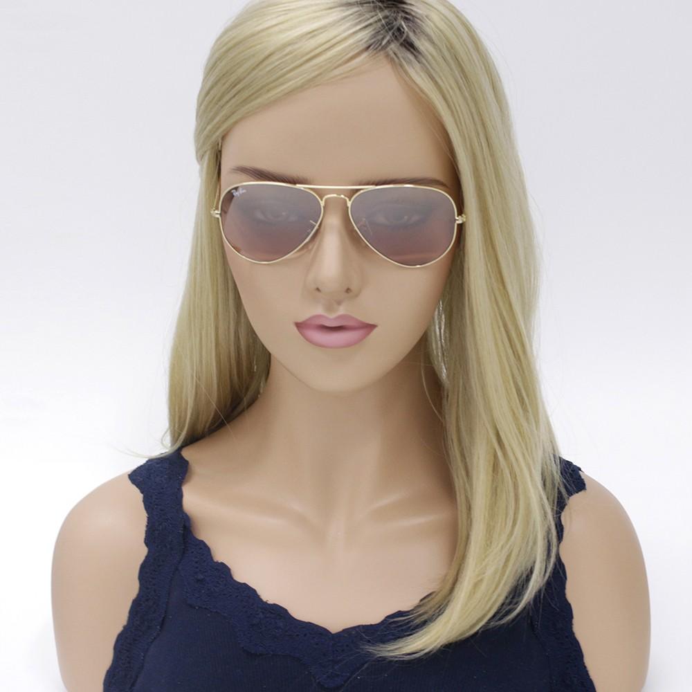 ... Óculos de Sol Ray-Ban Aviador Armação Metal Dourada Lente Marrom Comum  Com Plaquetas 0rb3025l ... 3d598301cd