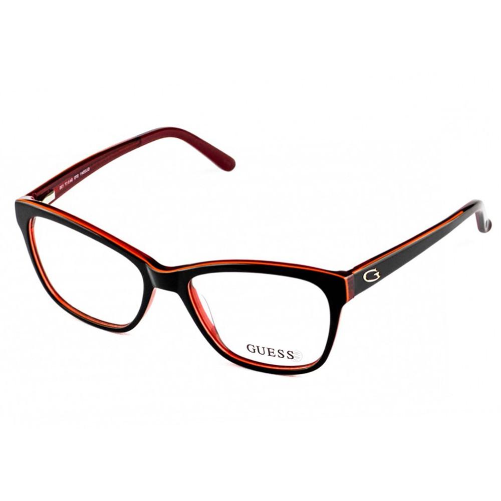 b67166eb5c445 Óculos de Grau Guess Quadrado Acetato Vermelha Aro Fechado Sem Plaquetas  gu2541 54070 ...