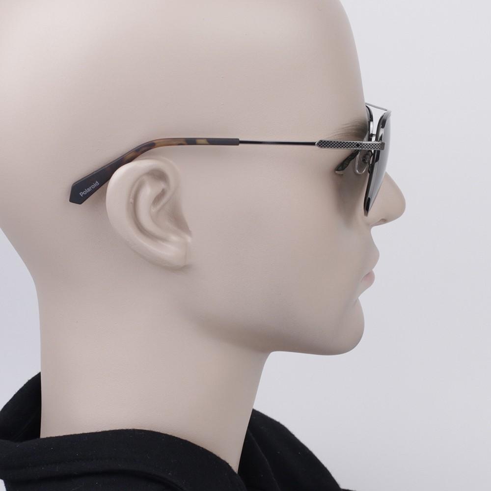 a06ad84aae9c9 ... Óculos de Sol Polaroid Quadrado Armação Metal Prata Lente Preta Comum  Com Plaquetas pld 2056
