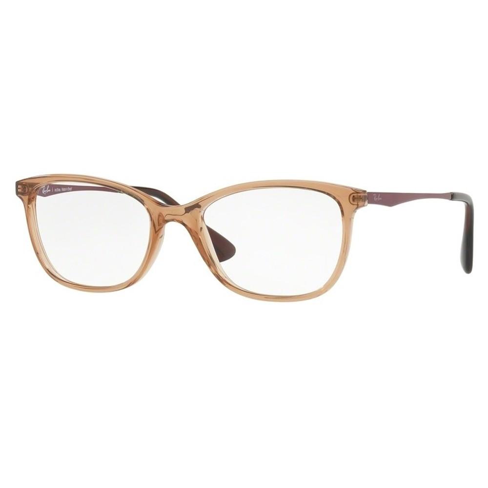 3b55356b78d33 Óculos de Grau Ray-Ban Gatinho Acetato Marrom Aro Fechado Sem Plaquetas  rx7106l 5706 53 ...
