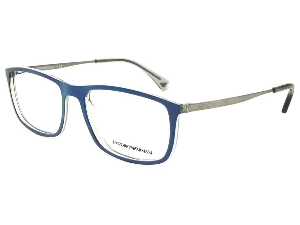 37afe5902a0bd Óculos de Grau Emporio Armani Quadrado Acetato Azul Aro Fechado Sem  Plaquetas 0ea3070 5469 54
