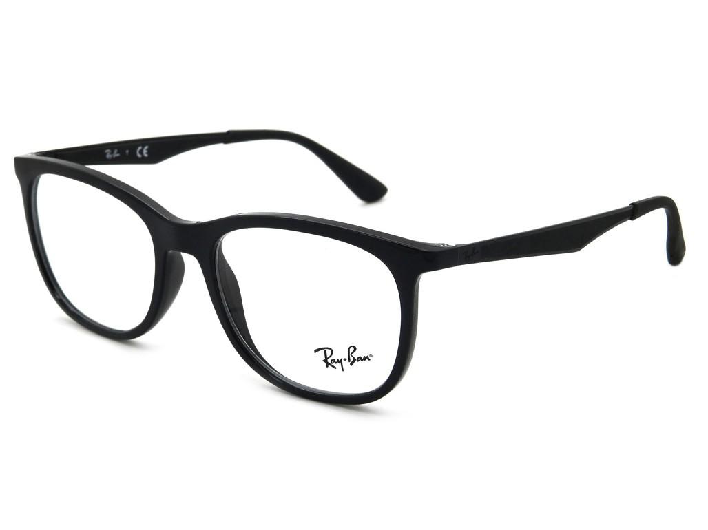 Óculos de Grau Ray-Ban Quadrado Acetato Preta Aro Fechado Sem Plaquetas  0rx7078 2000 53 ... 15af9a585f