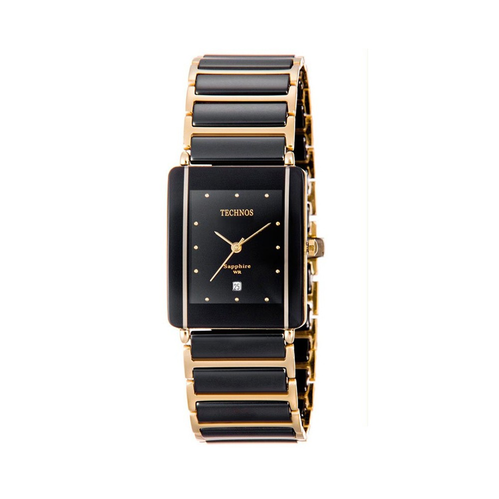 11295e5257d Relógio Technos Elegance Caixa Retangular Analógico Metal Preta Pulseira  Metal Preta e Dourada gn10aapai 4p ...