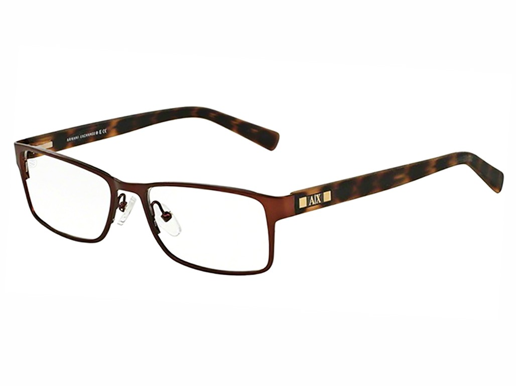ad23e24ebf20f Óculos de Grau Armani Exchange Retangular Metal Marrom Aro Fechado Com Plaquetas  0ax1003l601654