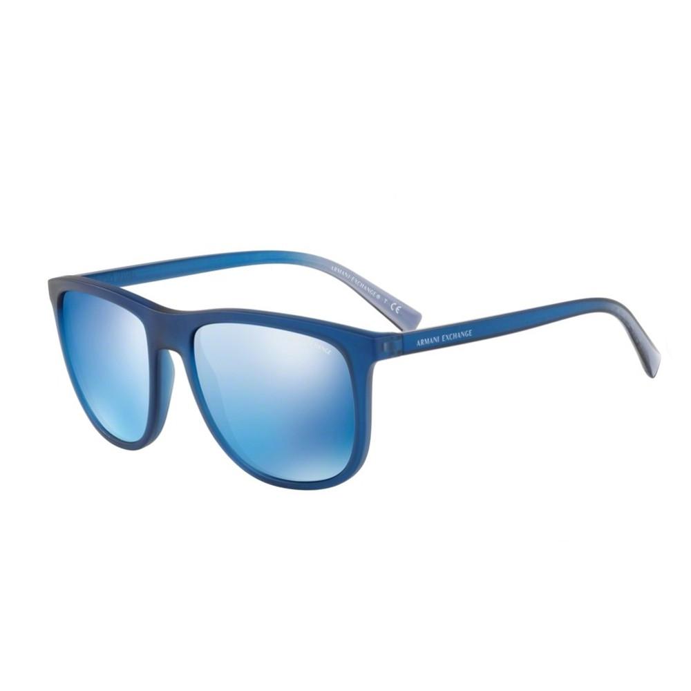 387397efc1f10 Óculos de Sol Armani Exchange Quadrado Armação Acetato Azul Lente Azul  Espelhada Sem Plaquetas 0ax4078s 82595556 ...
