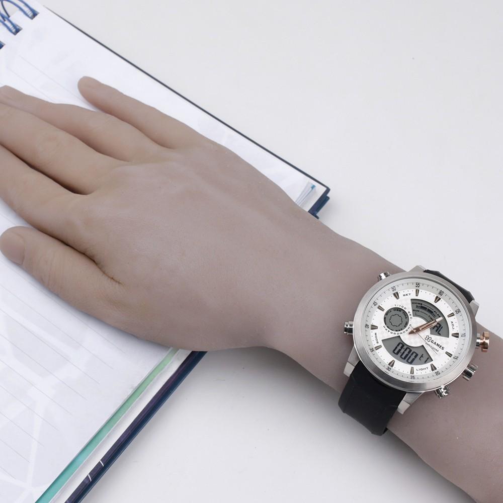 6c2a0174fd3 Relógio X-Games Chronograph Caixa Redonda AnaDigi Metal Prata Pulseira  Silicone Preta xmspa016 s2px Authentika Joias