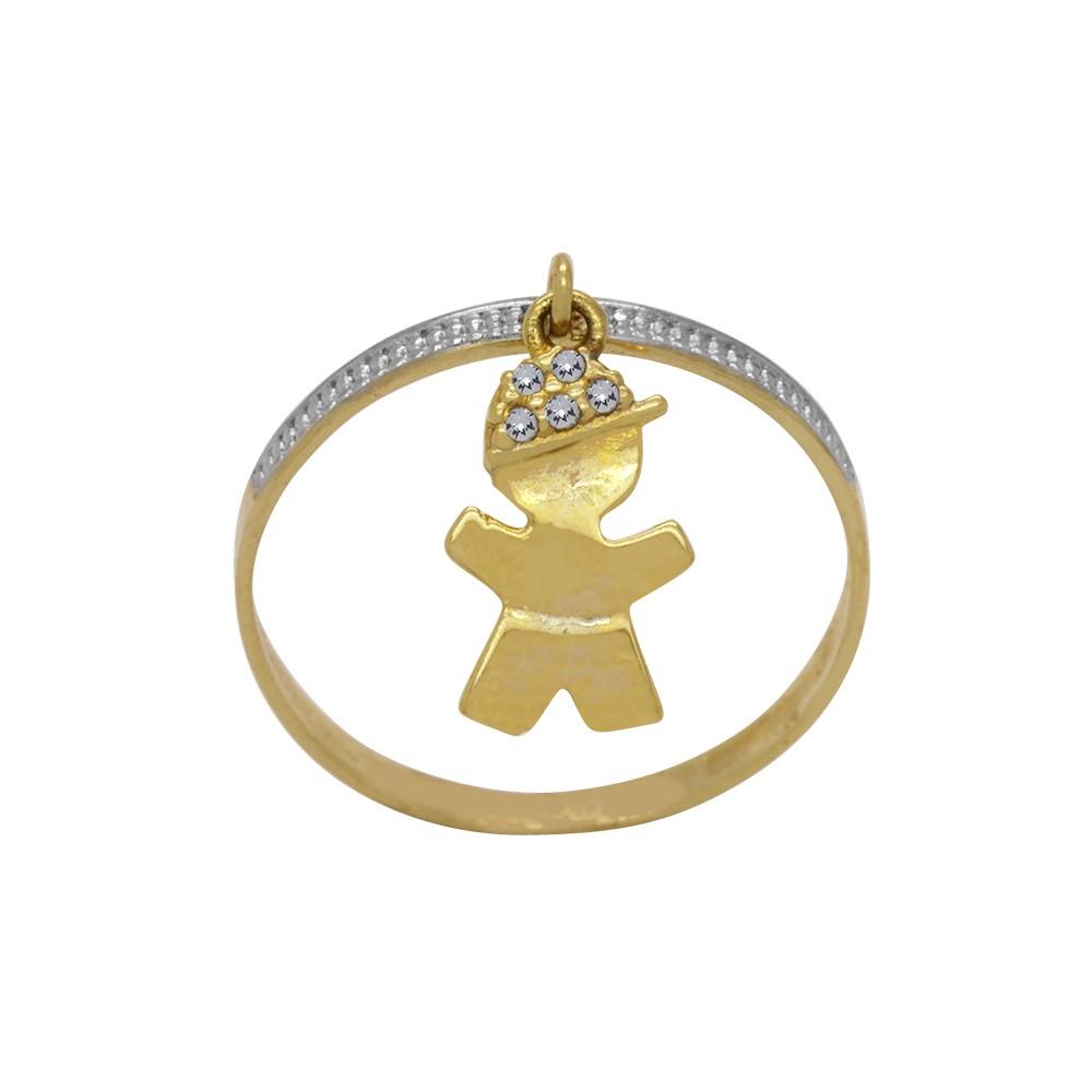 Anel Ouro 18k Amarelo Aro Chato Trabalhado Pingente Menino Boné Cravejado  Zircônias 6ebf8f22d3