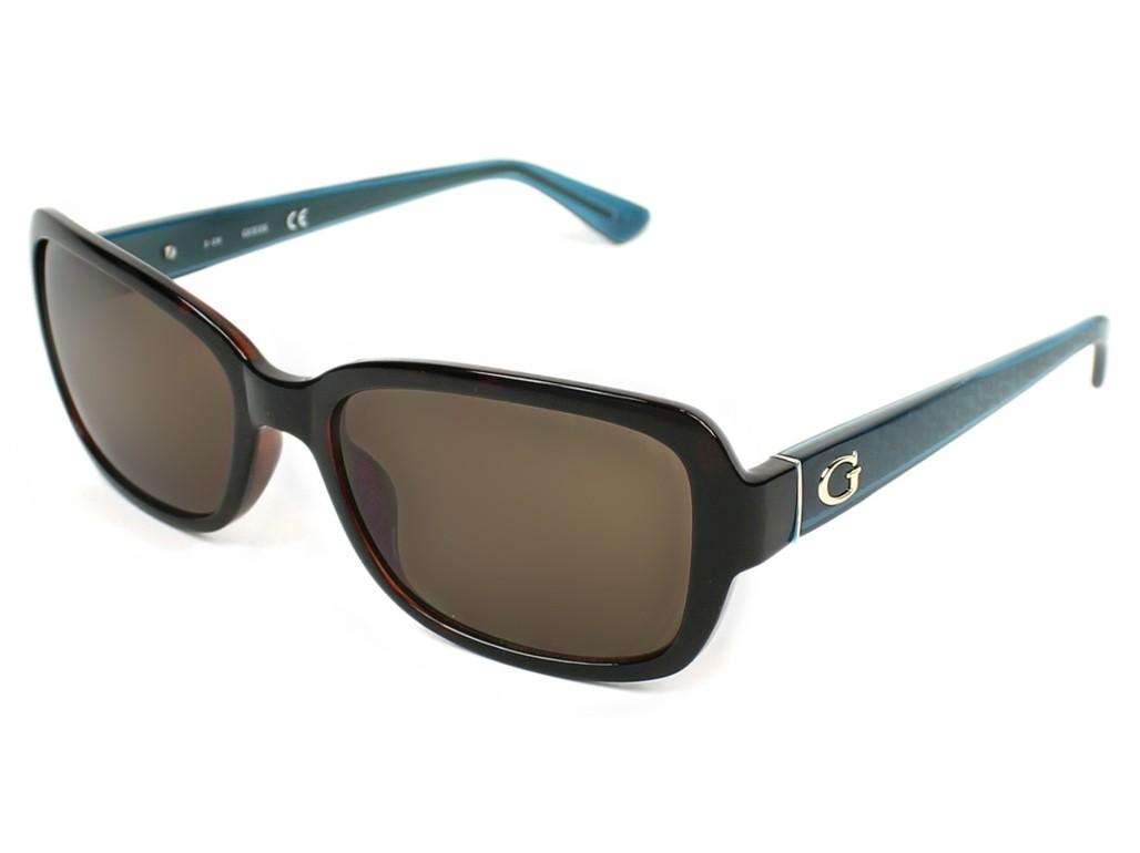 Óculos de Sol Guess Retangular Armação Acetato Tartaruga Lente Azul Comum  Sem Plaquetas gu7474 5652e b85842526e
