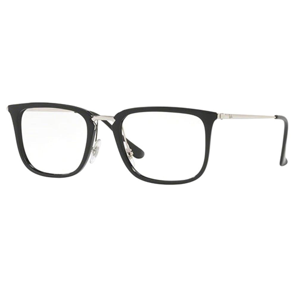 46ec403735f69 Óculos de Grau Ray-Ban Quadrado Acetato Preta Aro Fechado Com Plaquetas  0rx7141 5753 52 ...