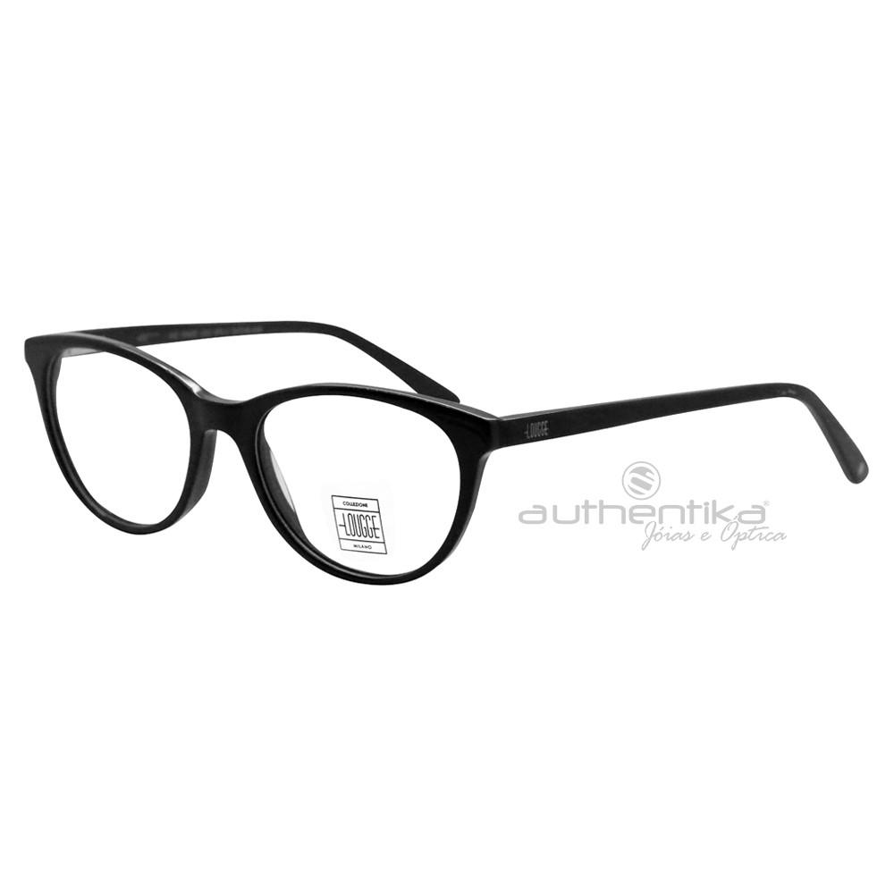 fc86e7aecffea Óculos de Grau Lougge Redondo Acetato Preta Aro Fechado Sem Plaquetas  lgo503.2