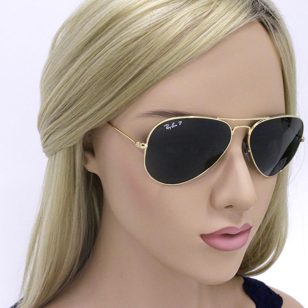 ... Óculos de Sol Ray-Ban Aviador Armação Metal Dourado Lente Verde  Polarizada Com Plaquetas 0rb3025l ... 8e34f85b43