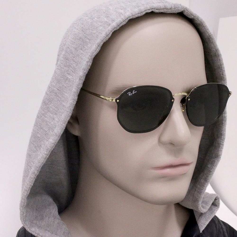 ... Óculos de Sol Ray-Ban Hexagonal Armação Metal Dourado Lente Preta Comum  Com Plaquetas rb3579n ... b7c1104d96
