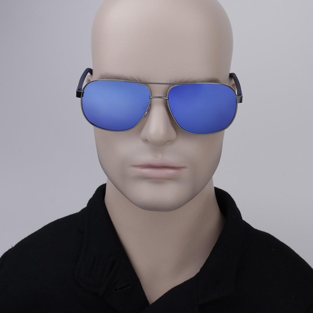 93f135a2c21b6 ... Óculos de Sol Polaroid Redondo Armação Metal Prata Lente Azul Espelhada  Com Plaquetas pld2059 s
