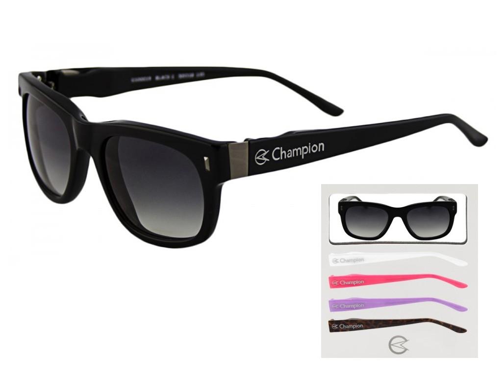 f58787b43db94 Óculos de Sol Champion Quadrado Armação Acetato Preta Lente Preta Degradê  Sem Plaquetas gs00020a ...