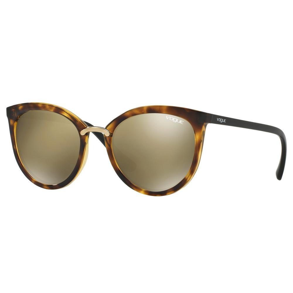 affbf02a19609 Óculos de Sol Vogue Gatinho Armação Acetato Tartaruga Lente Marrom  Espelhada Sem Plaquetas vo5122sl w6565a54 ...