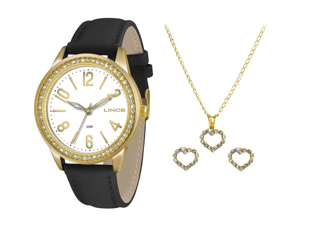 eaca6902f51 Relógio Lince Caixa Redonda Analógico Metal Dourada Pulseira Couro Preta  lrc4338l k150b2px Feminino ...