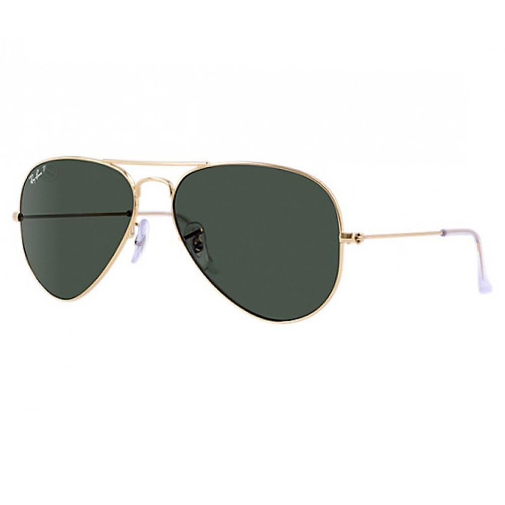 c2047f5094a30 Óculos de Sol Ray-Ban Aviador Armação Metal Dourado Lente Verde Polarizada  Com Plaquetas 0rb3025l ...