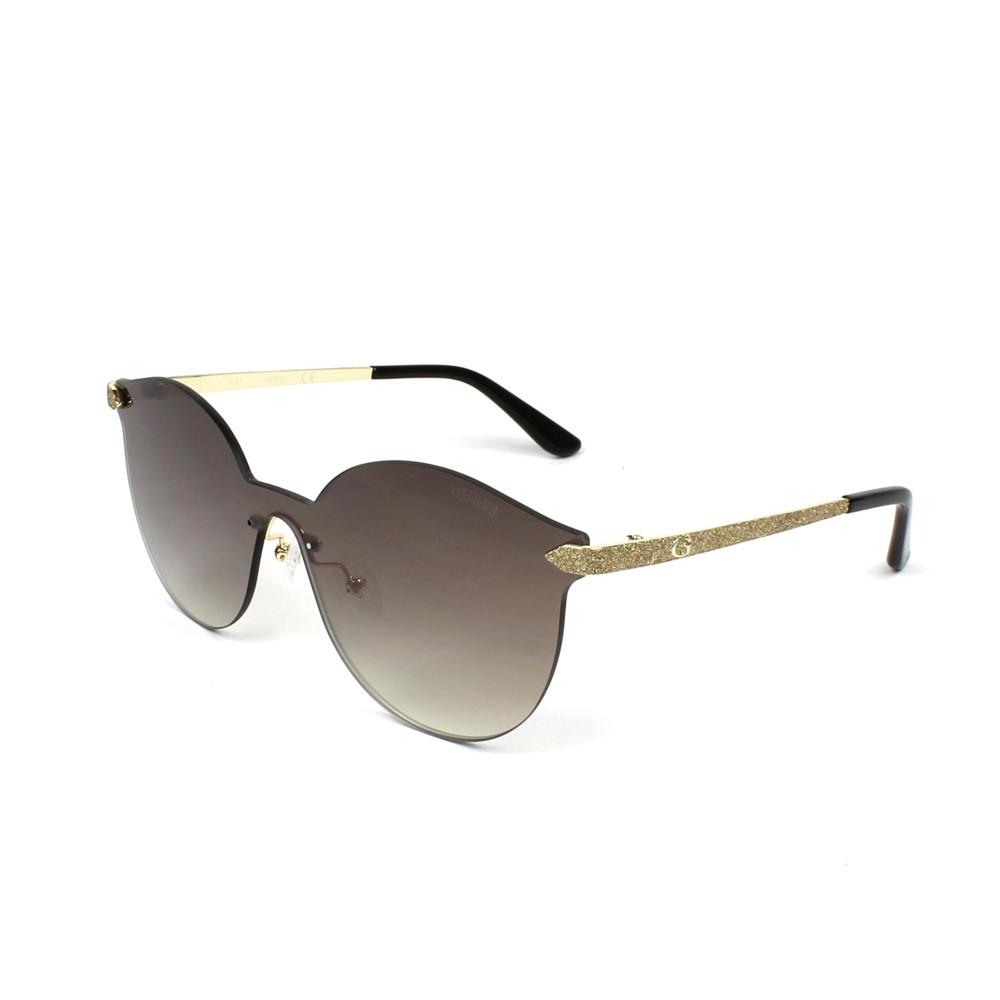 57b9323eee1df Óculos de Sol Guess Redondo Armação Metal Dourada Lente Marrom Espelhada  Com Plaquetas gu7547 0032g ...